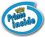 Cute Blue Prince Inside Slogan With Retro Style Novelty Design Vinyl Car Sticker Decal 105x85mm